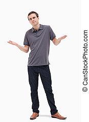 hombre shrugging, el suyo, hombros