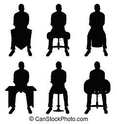hombre, silueta, conjunto, sentado, ocio, ilustración