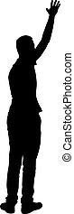 hombre, siluetas, plano de fondo, negro, blanco, brazo levantado