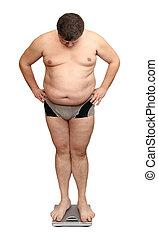 hombre, sobrepeso, escalas