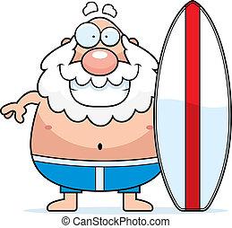 hombre, tabla de surf, caricatura