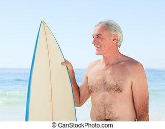 hombre, tabla de surf, el suyo, jubilado