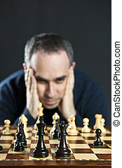 hombre, tablero del ajedrez