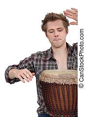hombre, tambor, juego, djembe