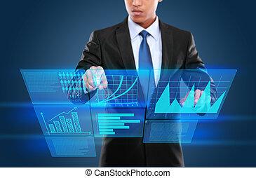 hombre, tecnología, interactivo