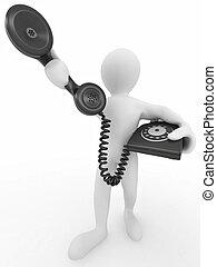 hombre, teléfono, sostener el receptor