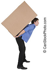 hombre, tenencia, caja de cartón