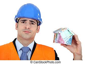 hombre, tenencia, casa, hecho, de, dinero