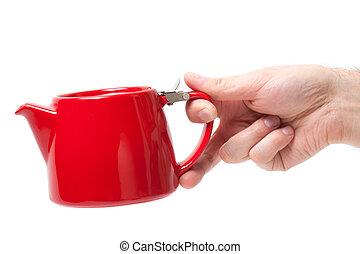 hombre, tenencia de la mano, objeto, rojo, tetera, aislado, blanco, fondo.