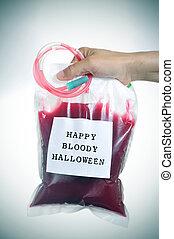 hombre, tenencia, un, bolso de la sangre, con, el, texto,...