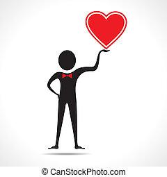 hombre, tenencia, un, corazón, icono