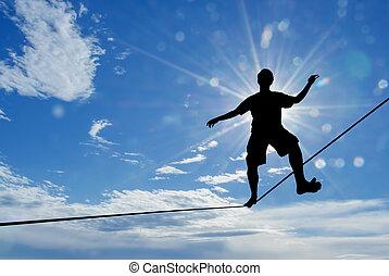 hombre, toma, riesgo, el balancear, soga, desafío, concepto