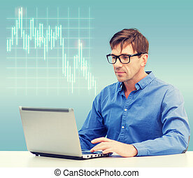 hombre, trabajando, con, computador portatil, en casa