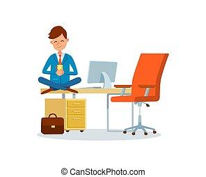 hombre, trabajando, en, oficina, lugar, interrupción, de, jefe, en el trabajo