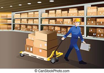 hombre, trabajando, en, un, almacén