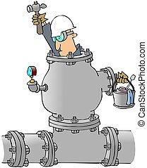 hombre, trabajando, en, un, tubo