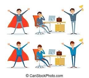 hombre, trabajando, por, oficina, tabla, empresa / negocio, superhombre