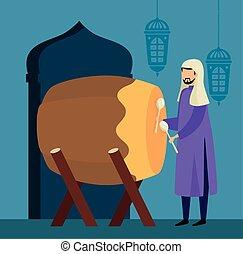 hombre, tradicional, bedug, tambor, musulmán