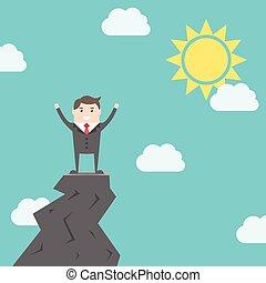 hombre, triunfante, roca