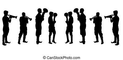 hombre, trompeta que juega, vector, illustra