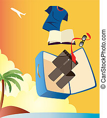 hombre, vacaciones, maleta