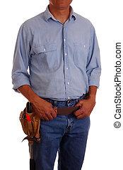 hombre, vaqueros, toolbelt, y