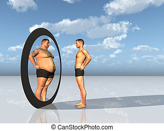 hombre, ve, otro, sí mismo, en, espejo