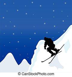 hombre, vector, invierno, ilustración, esquí