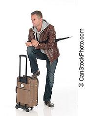 hombre, viajero, guapo