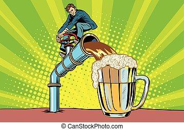 hombre, vierte, cerveza