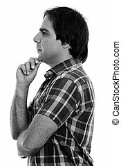 hombre, vista, perfil, pensamiento, joven, persa