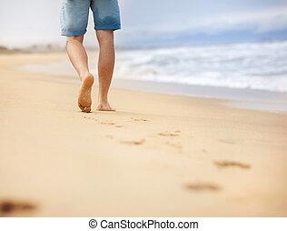 hombre, wallking, en la playa