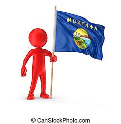 hombre, y, bandera, de, montana