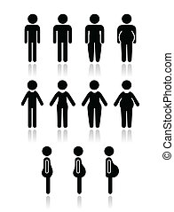 hombre, y, cuerpo mujeres, tipo, iconos