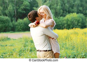 hombre y mujer, amor, pareja, fecha, boda, -, concepto