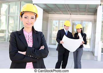 hombre y mujer, arquitecto, equipo