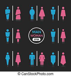 hombre y mujer, color, señal