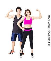 hombre y mujer, después, ejercicio salud, en, el, fondo blanco