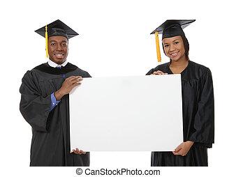 hombre y mujer, graduación, señal