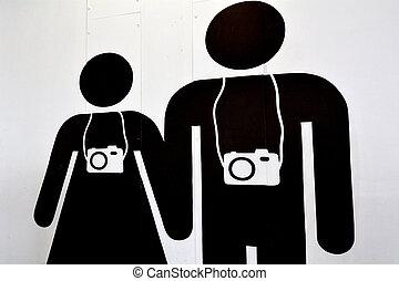 hombre y mujer, pareja, turista, viaje, fotógrafos