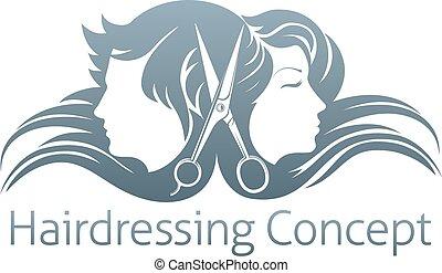 hombre y mujer, peluquero, tijeras, concepto