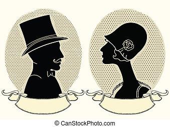 hombre y mujer, portraits.vector, vendimia, imagen
