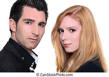 hombre y mujer, posición, cara a cara, half-turned