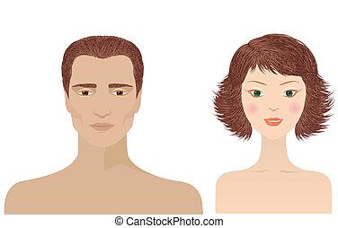 hombre y mujer, retratos, aislado, para, diseño