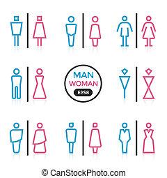 hombre y mujer, señal, contorno, golpe