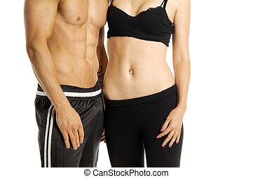 hombre, y, mujer, torsos, aislado, en, un, fondo blanco