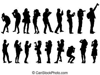 hombre, y, mujeres, con, cámara