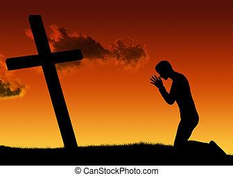 hombre, y, oración