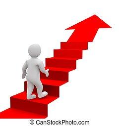 hombre, y, rojo, escaleras., 3d, rendido, illustration.