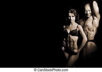 hombre, y, un, mujer, en el gimnasio